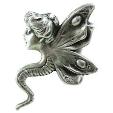Big Vintage Sterling Silver Fairy Ring 6.75 Art Nouveau Revival