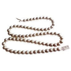 Vintage Mexican Sterling Silver Taxco Bead Necklace