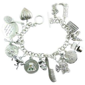 Vintage Mid Century Heavy Sterling Silver 17 Charm Bracelet Old Woman in Shoe