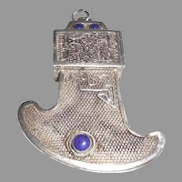 Antique Chinese Sterling Silver Blue Stone Compartment Pendant