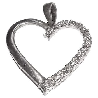 Sterling Silver Natural Diamond Heart Pendant