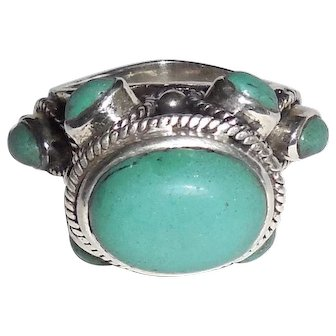 Huge Vintage Handmade Sterling Silver Chalcedony Cabochons Ring 8.5