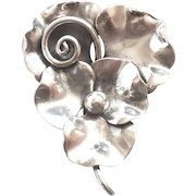 Hand Wrought Georg Jensen Sterling Silver Orchids Dogwood Pin 117