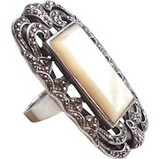 Chunky Vintage Sterling Silver Mother Of Pearl Marcasite Long Ring 8.25