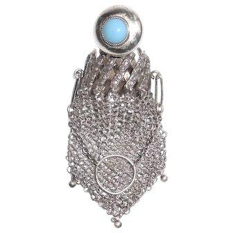 Sterling Silver Turquoise Expansion Chatelaine Mesh Coin Purse Handbag Finger Bag