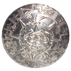 Mexican Sterling Silver Aztec Warrior Tribal Pendant Pin