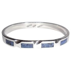 Vintage Taxco Mexican 950 Silver Sodalite Hinged Bangle Cuff Bracelet Size S/SM
