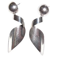 Long Taxco Mexican Sterling Silver Shoulder Duster Earrings