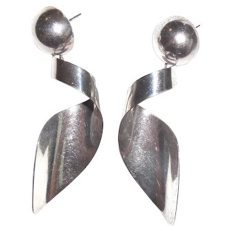 Long Taxco Mexican Sterling Silver Shoulder Duster Earrings