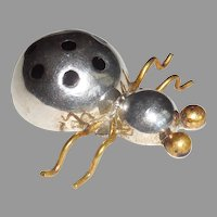 Taxco Mexican Sterling Silver Brass Enamel Lady Bug Beetle Ladybug Pin