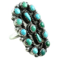 Native American Zuni Sterling Silver Petit Point Turquoise Ring 7 3/4