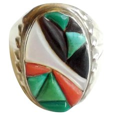 Zuni Native American Terrazas Mens Ring Size 10