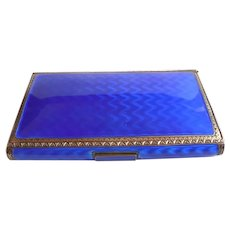1928 Sterling Silver Gold Blue Enamel Box Compact Vanity Calling Card