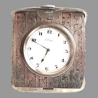 Very Ornate Sterling Silver 8 Day Travel Clock Working Original Swiss Movement Box