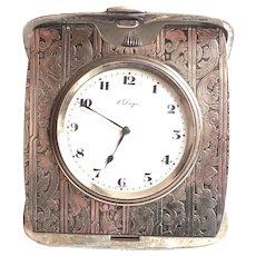 Very Ornate Sterling Silver 8 Day Travel Clock Working Original Swiss Movement Box