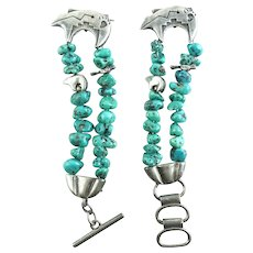 Southwestern Zuni Sterling Silver Fetish Turquoise Watch Bracelet