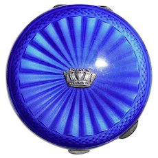 Vintage Birmingham British English Sterling Silver Cobalt Blue Enameled Ladies Compact