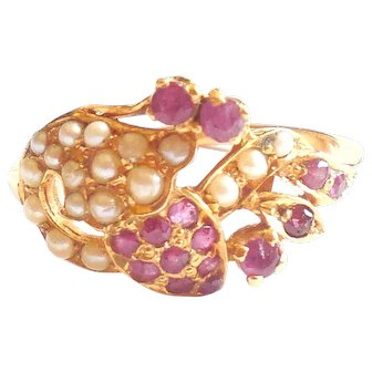 Antique Victorian 22K Rose Gold Rose Cut Ruby Seed Pearls Ring Size 7