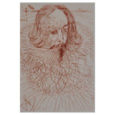 """Cervantes"" Etching by Salvidor Dali 1966"
