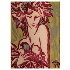 """""""Bacchante"""" Circa 1930 Art Deco Color Woodcut by Roland F. Cosimini (1898-1945)"""