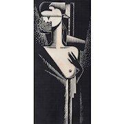 "Striking Art Deco Print ""The Kiss"" by Charles Turzak (1899-1986)"
