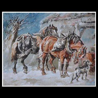 Winter Work Horses Watercolor and Gouache by Harden Sidney Melville Dated 1890