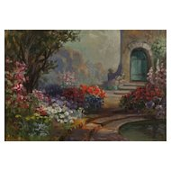 Garden Scene Oil Painting by California Artist Alice Best