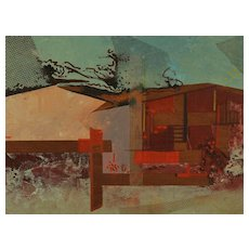 """Abstract House"" Mixed Media on Board by Albert Patecky c. 1959"