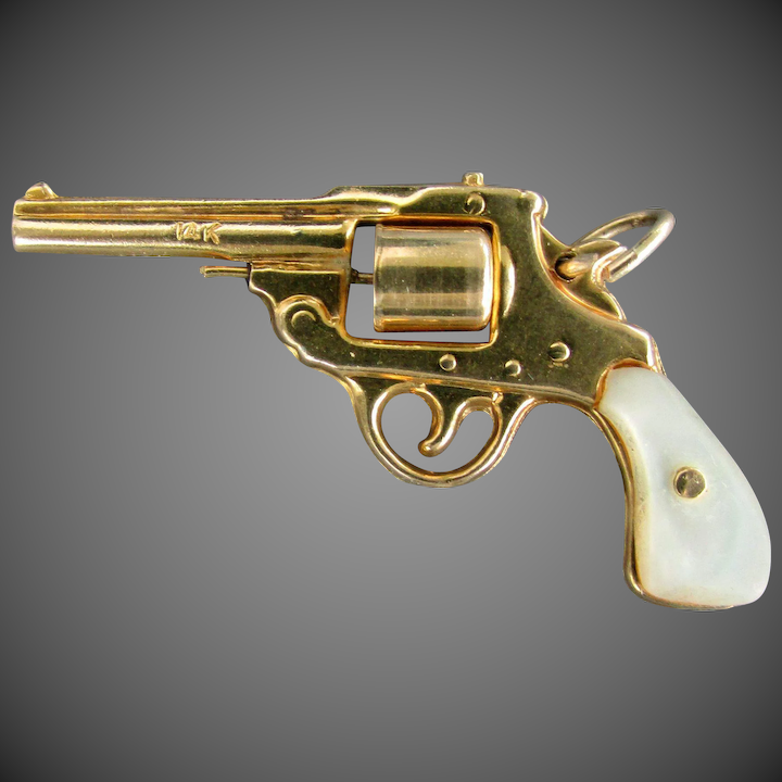 14k YG Pearl Handle Revolver Charm with Spinning Cylinder