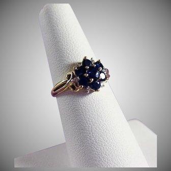 14K YG Blue Sapphire & Diamond Ring