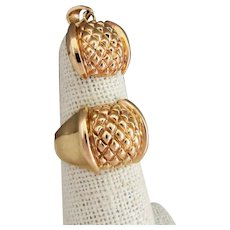 14K YG Ring & Pendant Set with Quilted Design