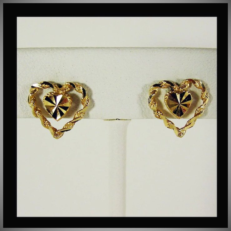 14K Yellow Gold Heart within Heart Earrings Beverly Hills Gold