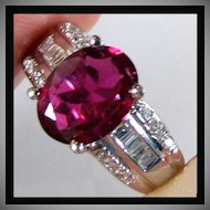 14K White Gold Natural Red Rubellite Tourmaline and Diamond Ring Size 5 1/4