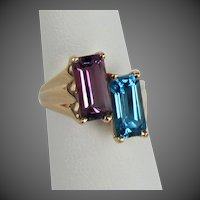 14K YG Emerald Cut Amethyst & Blue Topaz Ring
