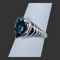 10K WG London Blue Topaz Ring by Clyde Duneier