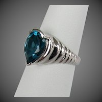 10K WG London Blue Topaz Ring by Clyde Duneier