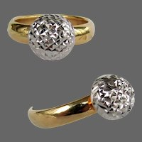 18K YG & WG Sparkle Ball Ring