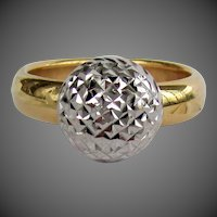 18K YG & WG Sparkle Ball Ring
