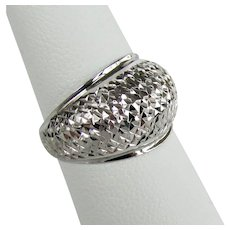 14K White Gold Textured Dome Ring