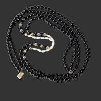 "14k YG Black Onyx & Rice Pearl Necklace 28"" Double Strand"