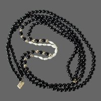 "14k YG Black Onyx & Rice Pearl Necklace 28"" Double Strand"