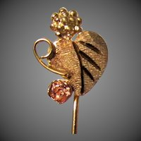 10K Yellow & Rose Gold Grapes Stick Pin Made by the Coleman Company