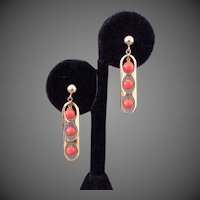 14k YG Pink Coral Dangle Earrings
