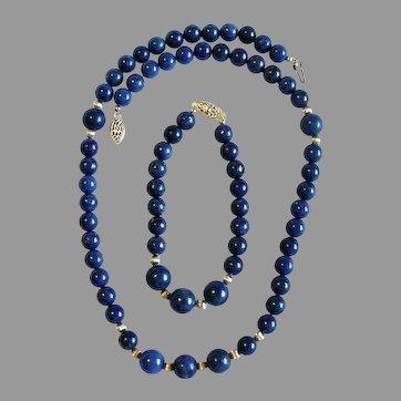 NOS Lapis Lazuli Bead Necklace & Bracelet Set