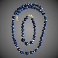 NOS Lapis Necklace & Bracelet Set