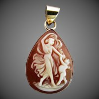 "18K YG ""Dancing Lady & Cherub"" Hand Carved Shell Cameo Pendant"