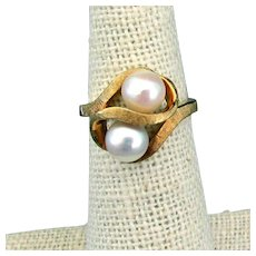 1950's, 14K Yellow Gold Cultured Pearl Ring, Size 4.75