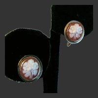 14K YG Carved Flower Cameo Earrings