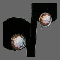 14K YG Flower Cameo Earrings