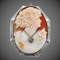 14K WG Cameo with Diamond - Pin and Pendant